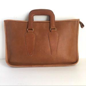 Vintage Distressed Leather Purse Briefcase Brown